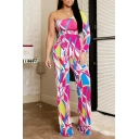 Womens New Arrival Trendy Pink One Shoulder Long Sleeve Tie Waist Colorblock Fitted Jumpsuits