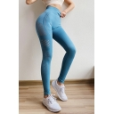 Womens Hot Sale Plain High Waist Quick Dry Cutout Skinny Fitted Stretch Legging Pants