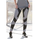 New Trendy Elastic Waist Colorblock Polka Dot Printed Sport Legging Pants