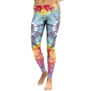 Hot Popular Classic Elastic Waist Colorful Geometric Printed Skinny Fit Legging Pants