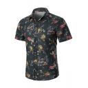 Men's Summer Stylish Vintage Floral Printed Short Sleeve Slim Button Shirt