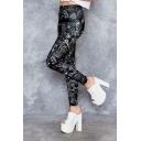 Black Elastic Waist Math Letter Printed Skinny Polyester Legging Pants