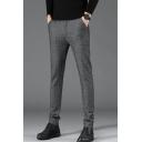 Men's Classic Fashion Popular Plaid Pattern Fitted Suit Pants Dress Pants