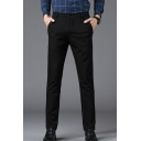 Basic Simple Plain Men's Comfortable Straight Fitted Tailored Suit Pants Business Dress Pant