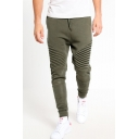 Men's New Fashion Solid Color Knee Pleated Drawstring Waist Casual Cotton Jogging Sweatpants