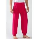 Men's New Fashion Simple Plain Loose Fit Home Pants Casual Wide Leg Pants