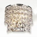 Modern Luxurious Drum Sconce Light Metal Clear Crystal Wall Lamp in Chrome for Hotel Restaurant