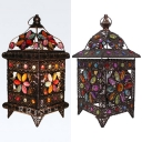Metal Pavilion Shaped Table Light Cafe Villa Single Bulb Moroccan Night Light in Bronze with Flower