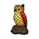 Tiffany Vivid Owl Desk Light 1 Light Stained Glass Night Light in Red for Living Room