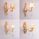 Metal Carved Body Sconce Light with Crystal Corridor 1 Light Elegant Style Wall Light in Gold