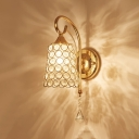 1 Light Bell Wall Light with Crystal Bead Luxurious Metal Sconce Light in Gold for Bedroom