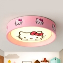 Metal Kitty/Rabbit Ceiling Mount Light Nursing Room Contemporary Flush Light in Green/Pink
