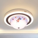 Rotatable Acrylic Ceiling Mount Light Cartoon Stepless Dimming Flush Light in Blue/Pink for Baby Bedroom