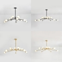 Clear Glass Modo Pendant Light 15/18 Bulbs Creative Modern Chandelier in Black/Gold for Living Room