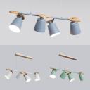 Macaron Gray/Green/White Island Pendant Bucket Shape 4 Bulbs Metal Island Light for Dining Room
