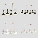 Horn Shape Restaurant Island Light Metal 4/6 Lights Modern LED Island Chandelier in Black/White