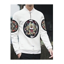Guys Retro Chinese Style Dragon Print Stand Collar Long Sleeve Frog Button Down Fitted Jacket Coat