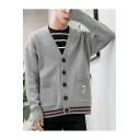 Teenagers Fashion Striped Hem Long Sleeve Button Front Casual Loose Cardigan Knitwear