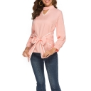 Womens Elegant Halter V-Neck Long Sleeve Bow-Tied Front Plain Blouse Top