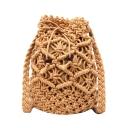 New Trendy Plain Straw Drawstring Crossbody Summer Bucket Bag 16*21*11 CM