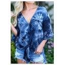 Womens Summer New Stylish Tie Dye V-Neck Tied Hem Loose Casual Blouse Top