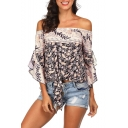 Summer Chic Floral Printed Off the Shoulder Ruffled Sleeve Tied Hem Casual Beach Blouse
