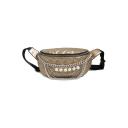 Women's Fashion Plain Pearl Chain Embellishment Diamond Check Quilted Waist Belt Bag 27*16*10 CM
