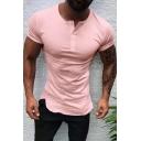 Mens Summer Stylish Button Round Neck Short Sleeve Plain Slim Fit Henley Shirt