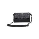 Cool Fashion Skull Pattern Rivet Embellishment Black Crossbody Bag 27*5*17 CM