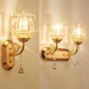 Luxurious Floral Sconce Light with Crystal Metal 1/2 Lights Gold Finish Wall Lamp for Stair