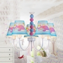 Purple Whale Suspension Light with Bead 5 Lights Nautical Style Fabric Chandelier for Baby Bedroom