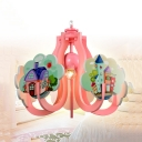 Kids Castle Ceiling Pendant Single Lights Metal Mini Chandelier in Blue/Pink for Girls Bedroom