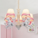 Modern Stylish Horse Pendant Lamp 5/6 Lights Metal Chandelier in Blue for Bedroom Kindergarten