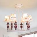 White Tapered Pendant Light with Nutcracker Soldier 6 Lights American Style Resin Chandelier for Kindergarten