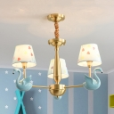 Resin Swan Pendant Light 3/5 Lights Modern Style Ceiling Pendant in Blue/Pink for Child Bedroom