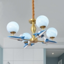 Kindergarten Airplane Chandelier Metal 4 Lights Modern Style Blue/White Pendant Light with Globe Shade