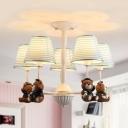Animal Blue/Pink Hanging Light Stripe Shade 5 Lights Metal Chandelier with Bear for Child Bedroom