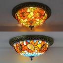 Orange Sunflower Flush Mount Light 3/4 Lights Tiffany Rustic Ceiling Lamp for Kitchen Balcony