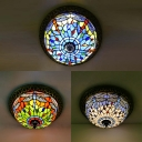 Stained Glass Dragonfly Ceiling Lamp Study Room 3/4 Lights Flush Ceiling Light in Blue/Green/White