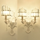 Metal Candle Wall Light with Clear Crystal Shade 1/2 Heads Modern Style White Finish Wall Lamp