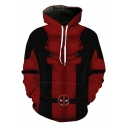Fashion Comic Cosplay Costume Long Sleeve Sport Loose Red Drawstring Hoodie