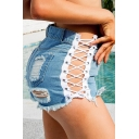 Womens Summer Sexy Hollow Out Lace-Up Side Destroyed Ripped High Rise Night Club Denim Shorts