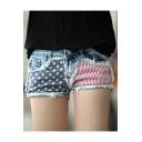 Summer Light Blue Street Fashion Flag Printed Destroyed Frayed Hem Hot Pants Denim Shorts