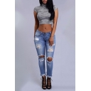 Trendy Destroyed Ripped Knee Cut Rolled Cuff Womens Blue Skinny Fit Jeans