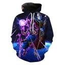 Popular Game 3D Galaxy Figure Printed Long Sleeve Blue Hoodie