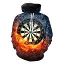 Cool 3D Fire Dart Board Print Long Sleeve Sport Loose Pullover Drawstring Hoodie