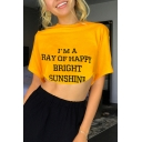Summer Hot Fashion Letter I'M A RAY OF HAPPY BRIGHT SUNSHINE Print Short Sleeve Yellow Crop Tee