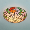Tiffany Butterfly Flower Flush Mount Light Stained Glass Beige Ceiling Lamp for Study Room
