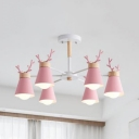 Candy Colored Antlers Chandelier 3/6 Lights Nordic Style Wood Hanging Light for Child Bedroom