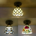 Traditional Tiffany Ceiling Lamp with Bead/Flower/Mediterranean Single Head Glass Flush Light for Foyer